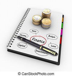 3D rendering spiral notebook with coins and written words of the Economy and Finance