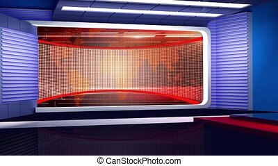 News TV Studio Set- - News TV Studio Set 158-Virtual Green...