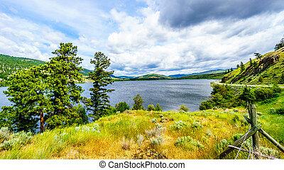 Nicola Lake in British Columbia - Nicola Lake and the wide...