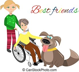 Special needs children with friends