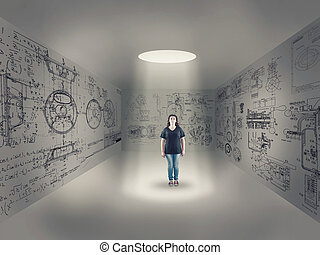 Young girl in center of a room
