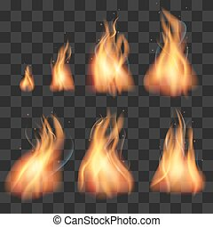 Realistic fire animation sprites flames vector set....