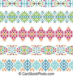 Tribal aztec ethnic borders - Colored tribal aztec ethnic...