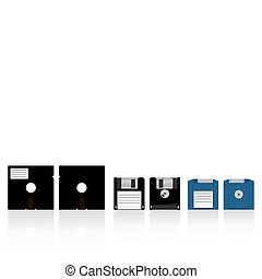 Diskettes - Vector collection of diskettes. Diskette 5.25,...