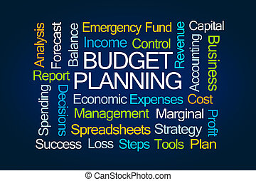 Budget Planning Word Cloud on Blue Background