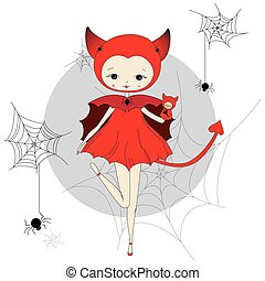 Girl in a suit of devil - Cute little girl in a suit of red...