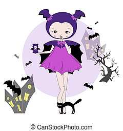 Girl in a suit of bat - Cute little girl in a suit with a...