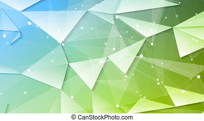 Green blue tech geometric polygonal video animation - Green...