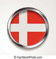 Abstract button with metallic frame. Danish flag