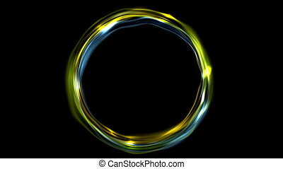 Electric neon iridescent flowing ring video animation -...