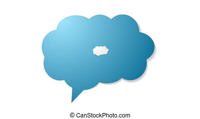 Blue cloud speech bubble with commas, quote video animation...