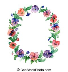 Ethnic pattern of flowers - Vector flowers with dots...
