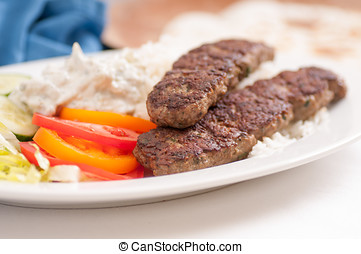 koobideh ground lamb with rice and vegetables, - delicious...