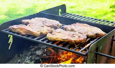 pork steak on an open fire - Juicy Stakes Cooking On Grill...