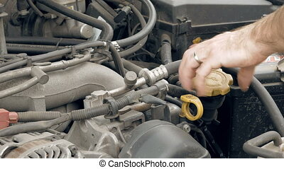 Auto mechanic pours additional motor engine oil into the car...