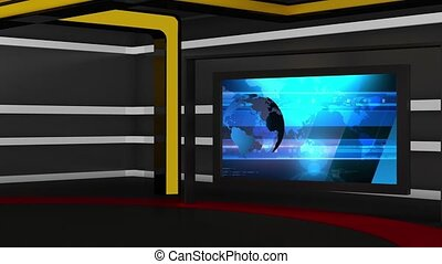 News TV Studio Set 161 - Virtual Green Screen