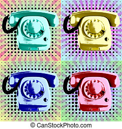 Pop Art Phone Poster - Telephone Poster in pop art style...