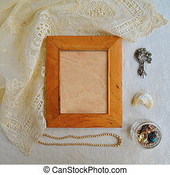 Retro Mock up with frame, lace and jewelry