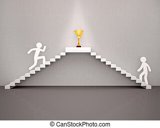 3d illustration of The concept of two people climbing the stairs in the background