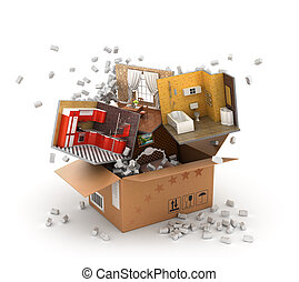 Concept of moving. Parts of interiors flying from cardboard box with packaging filler