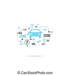 Pointer to the car parking zone Vector icon Outline