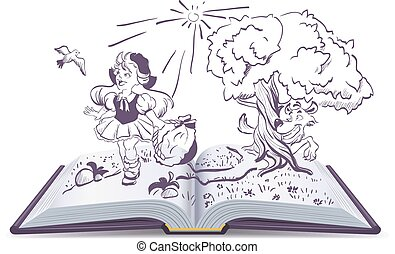Tale of Little Red Riding Hood and gray wolf. Open book...