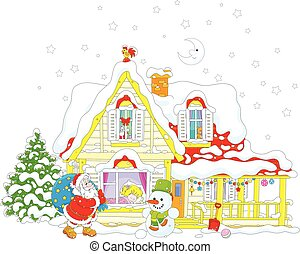 Santa with Christmas gifts - Santa Claus brought gifts to a...