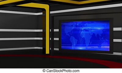 News TV Studio Set- - News TV Studio Set 162 - Virtual Green...