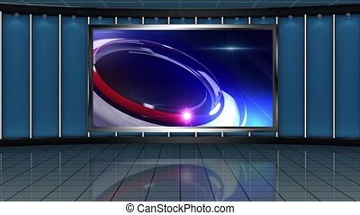 News TV Studio Set- - News TV Studio Set 163 - Virtual Green...
