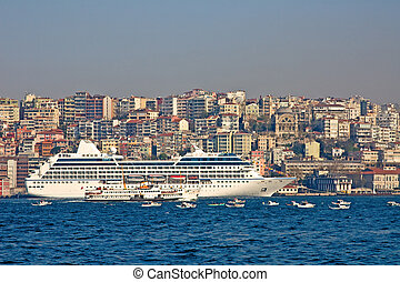 Istanbul harbor - Cruise ship in the Istanbul harbor