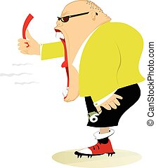 Referee - Angry referee shows a red card