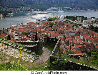Old town of Kotor - View of the Kotor and Kotor Bay...