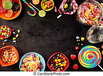Frame or surround of colorful candy - Frame of colorful...