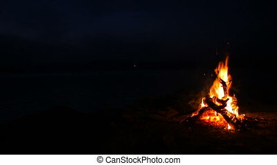 Camp fire on a lake in the night