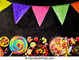 Festive carnival poster with colorful bunting and an...
