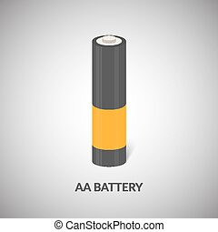 AA Battery vector icon. Isolated cylinder AA battery in cartoon style.