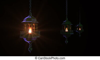 Ramadan lanterns in dark. - Render of group Ramadan lanterns...