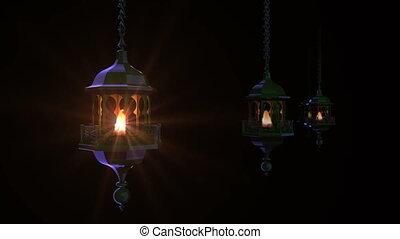 Ramadan lanterns in dark. - Render of group Ramadan lanterns...