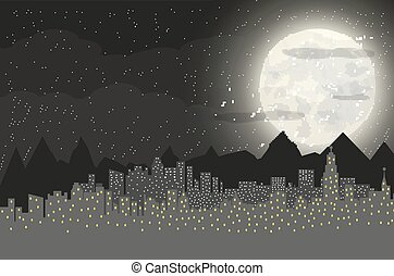 Silhouette of the city and night sky