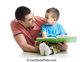 Dad and son kid reading together - Daddy and kid son read...
