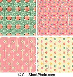Collection of four retro different vector seamless patterns