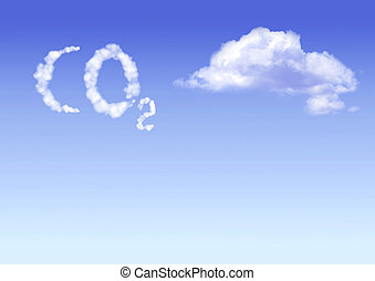 Symbol CO2 from clouds on blue sku backgound