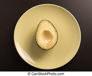 avocado slice without seed in plate.