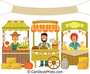 farmers market - farmers selling their products on wooden...