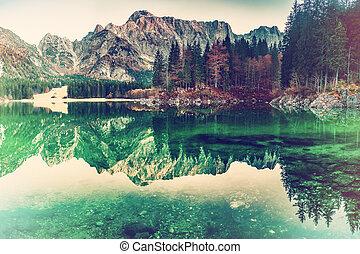 Vintage Landscape with Lake