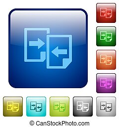 Color share documents glass buttons - Set of color share...