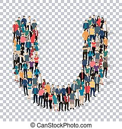 group  people  shape letter U vector Transparency