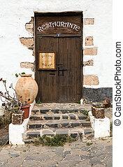 Old brown door in Betancuria village on Fuerteventura,...