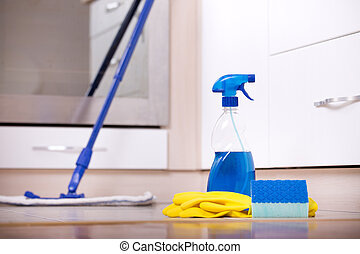 Kitchen cleaning concept - Close up of spray bottle,...