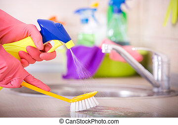 House cleaning concept - Close up of human hand in...
